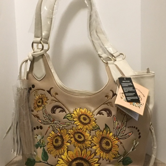 Brand New Sharif purse with embroidered sunflowers